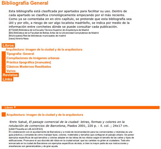 Página de bibliografía de Arquitectura y tipografía Confluencias a través de la experiencia [arquitectos y tipógrafos]