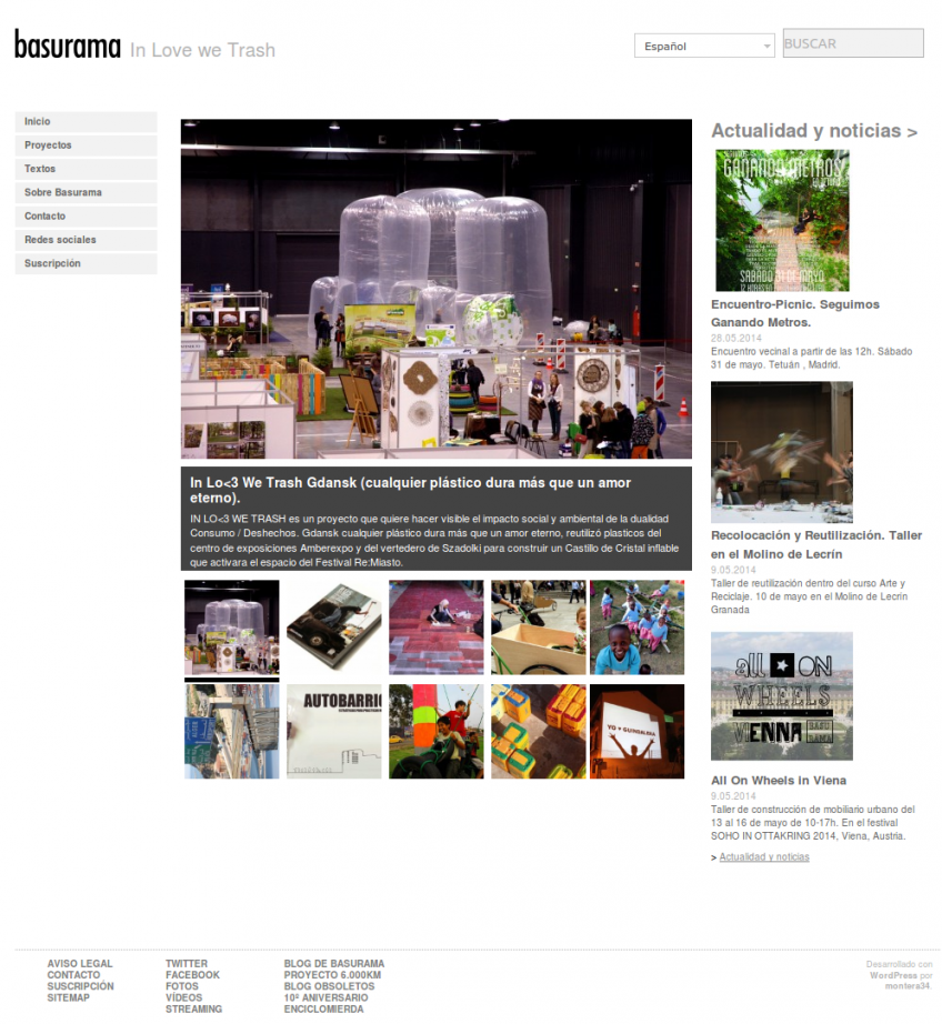 Page d'accueil de Basurama.