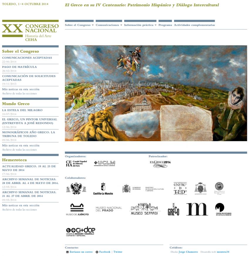 """Page d'accueil de """"XX Congreso Nacional Historia del Arte""""."""