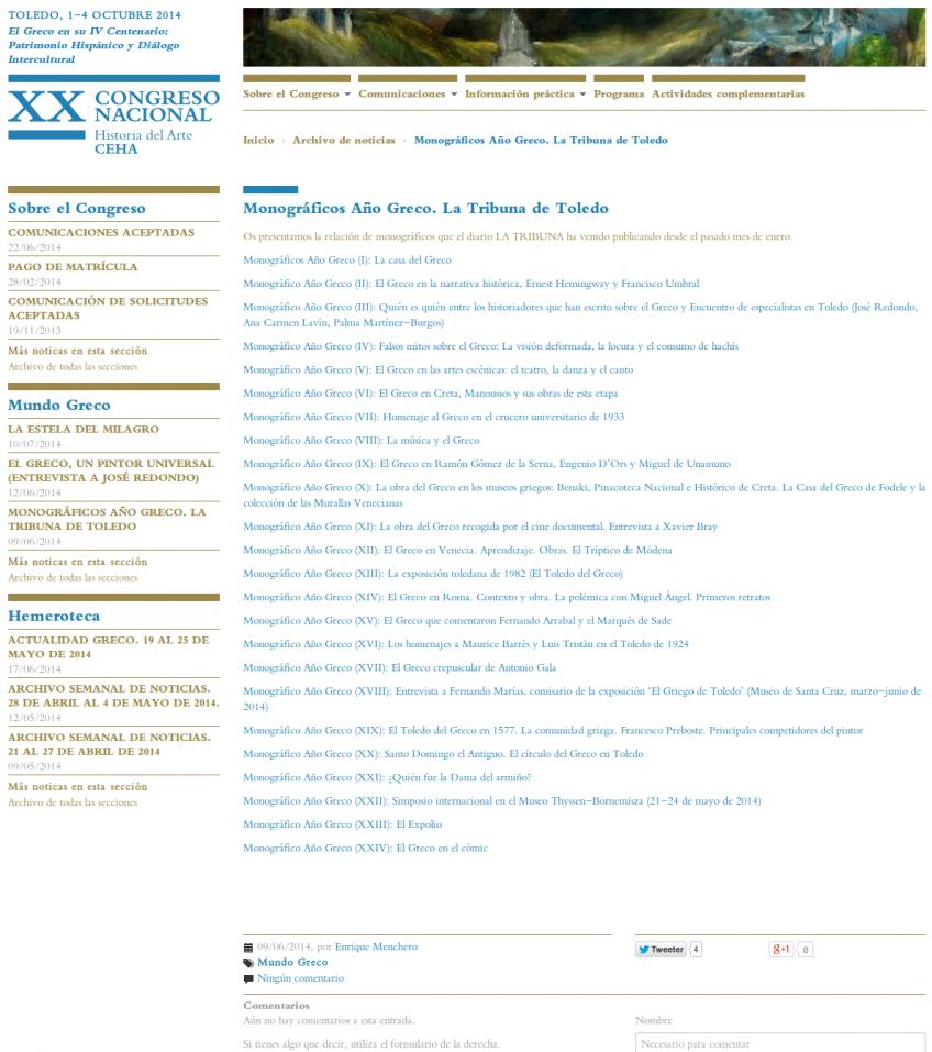 """Détail de la page """"XX Congreso Nacional Historia del Arte""""."""