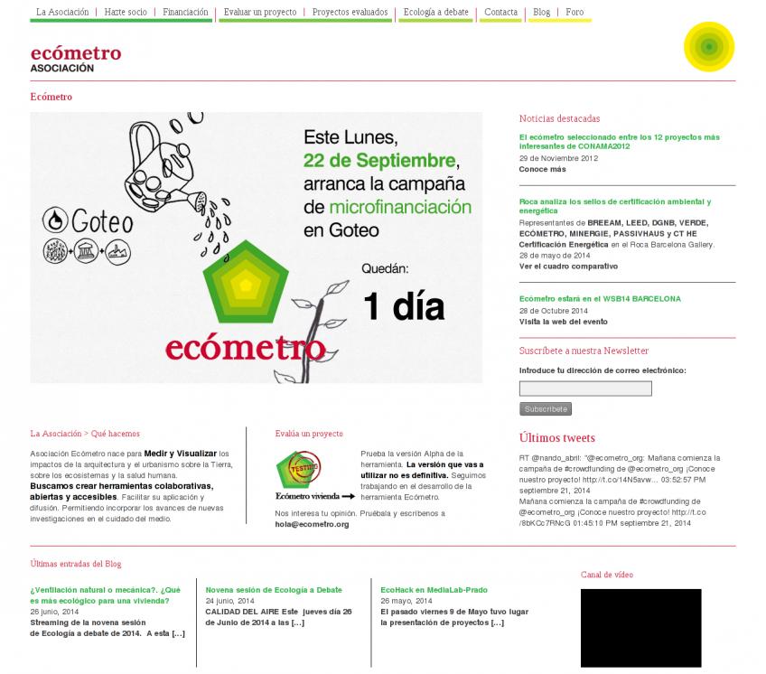 Page d'accueil de l'Association Ecómetro.