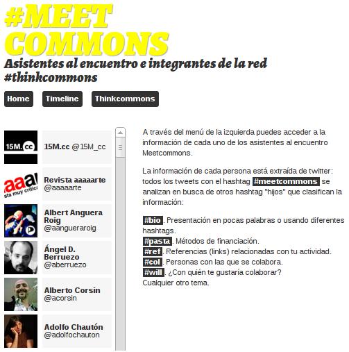 Ejemplo de uso de Eventweet durante el evento Meetcommons en 2012