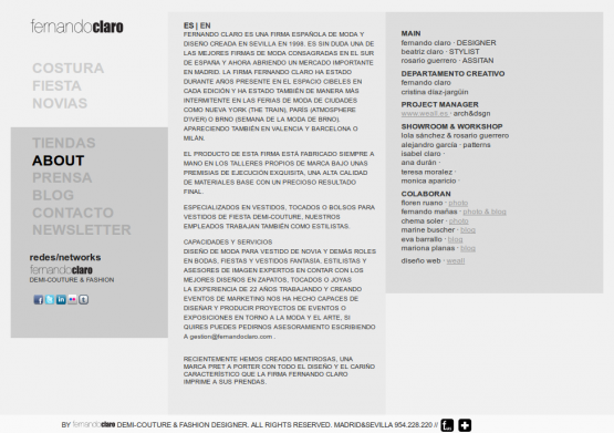 Página de 'About' de Fernando Claro