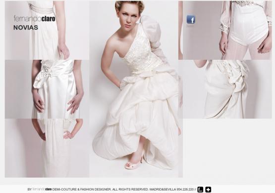 Catálogo de vesidos de novias en página de Fernando Claro