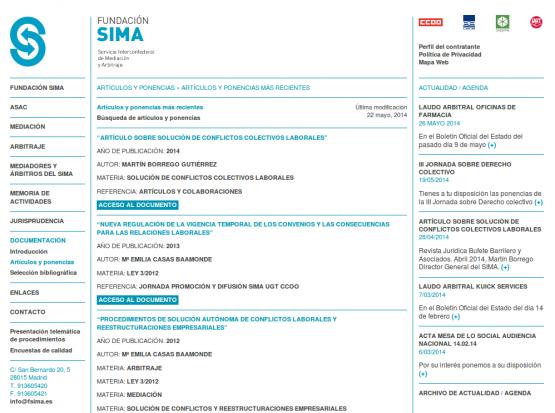 Sección de artículos de la página de la Fundación Sima