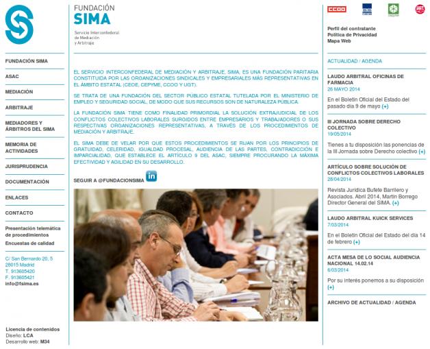 Página de inicio de la Fundación Sima