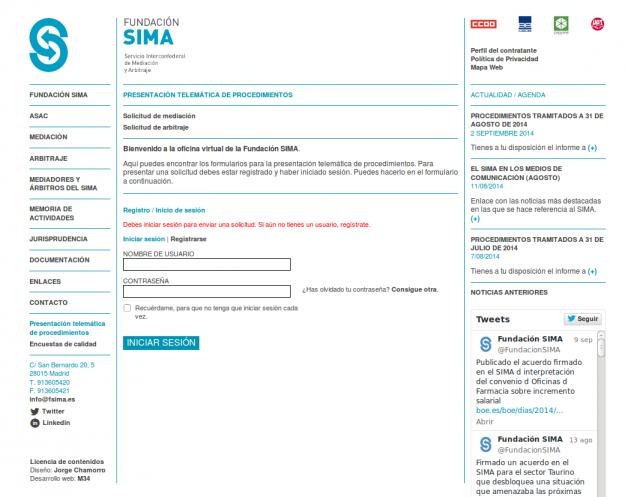 Presentación telemática de procedimientos en Fundación SIMA