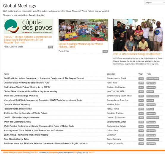 Página de Encuentros Globales de GlobalRec (Alianza Global de Recicladores)