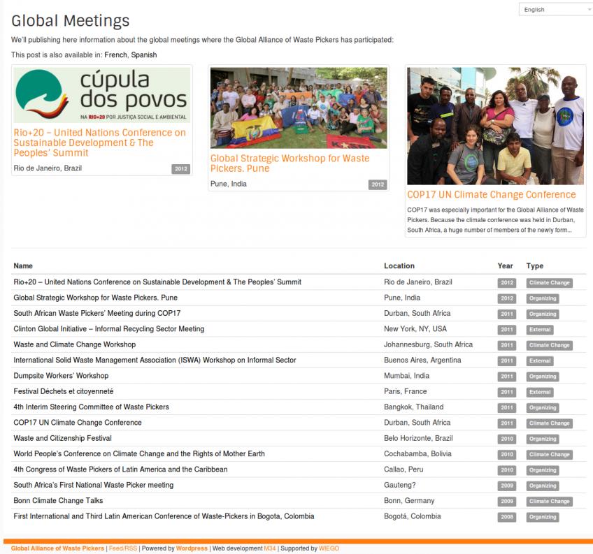 Page d'événements internationaux de GlobalRec (Alliance Globale de Recycleurs).