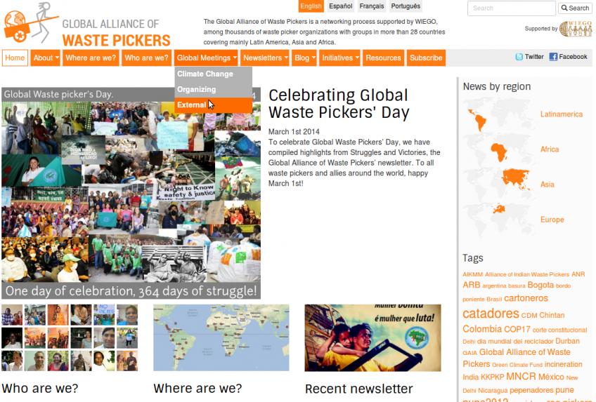 Page d'accueil (partie superieure) de l'Alliance Globale des Recycleurs  (GlobalRec.org).