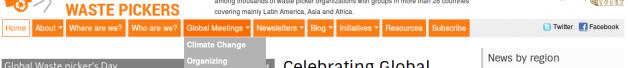 Página de inicio (parte superior) de la Alianza Global de Recicladores (GlobalRec.org)