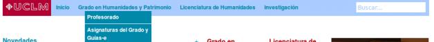 Página de inicio de la Facultad de Humanidades de Toledo