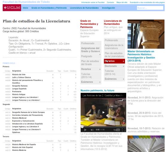Sección del plan de estudios de la Facultad de Humanidades de Toledo
