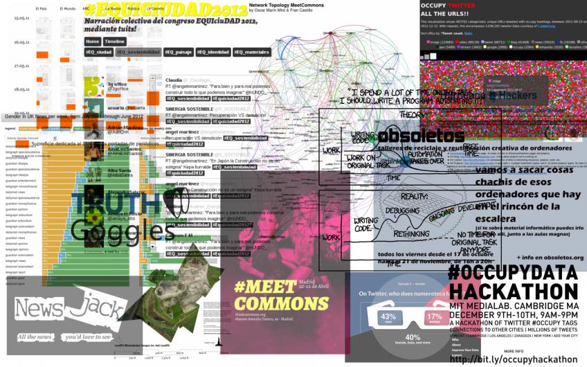 Mix de imágenes de proyectos referenciados en Investigación colaborativa, divertida, barata, transmedia. Otras formas de entender la investigación
