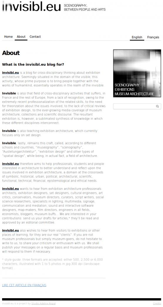 Página de 'About' de invisibl.eu