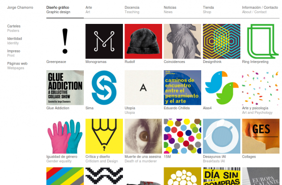 Sección de diseño de la página de Jorge Chamorro