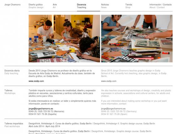 Sección de docencia de la página de Jorge Chamorro