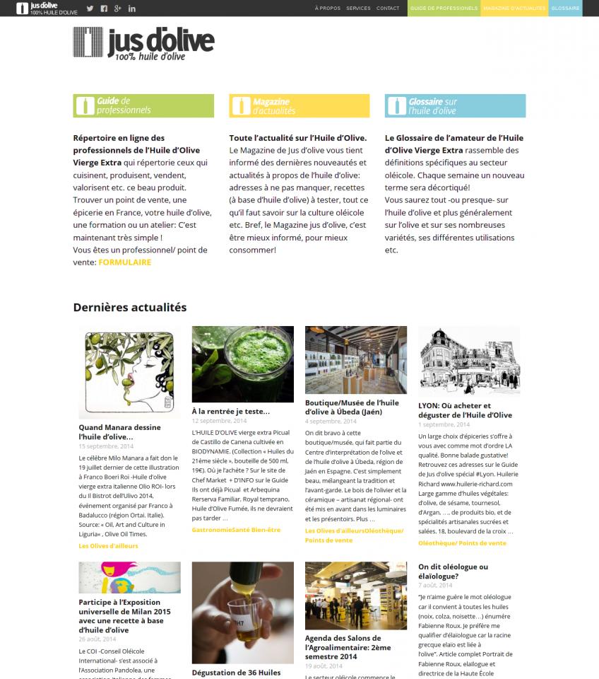 Page d'accueil de Jus d'olive.