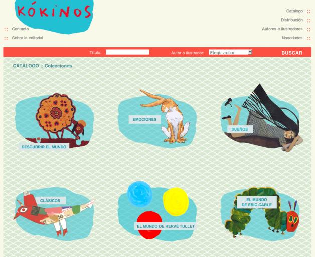 Catálogo de libros de Kokinos (parte superior)