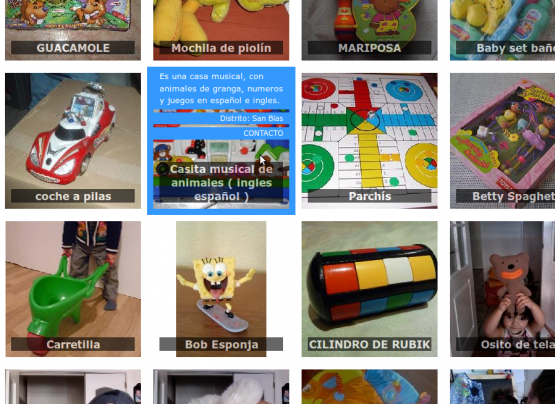 Detalle y datos de un juguete en La noche de los niños