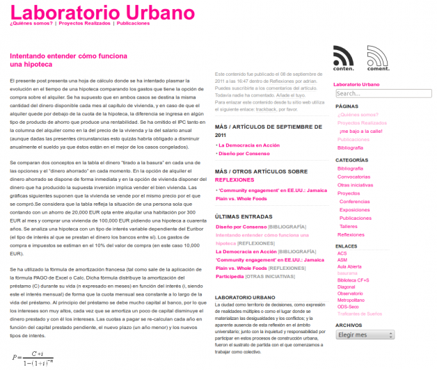 Post en Laboratorio Urbano