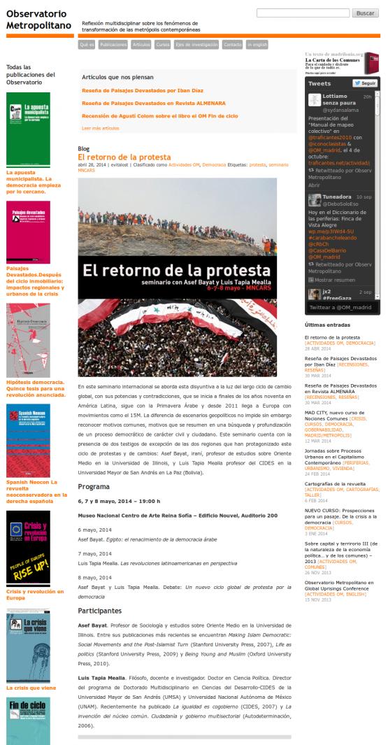 Página de inicio del Observatorio Metropolitano de Madrid