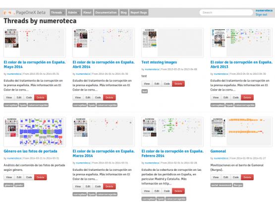 Hilos (threads) creados por los usuarios en la web de PageOneX