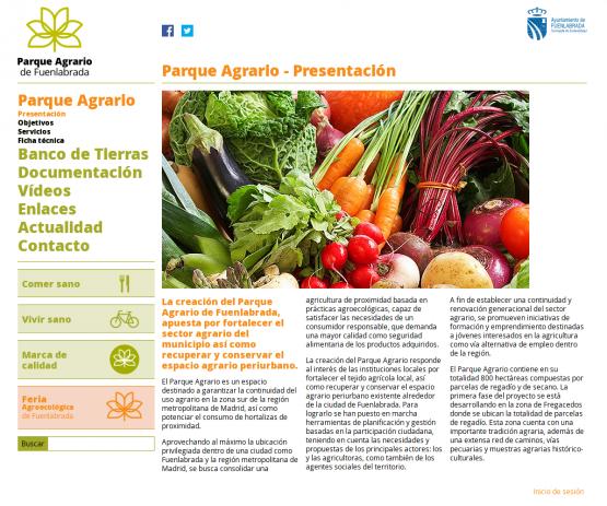 Página de presentación del Parque Agrario Fuenlabrada