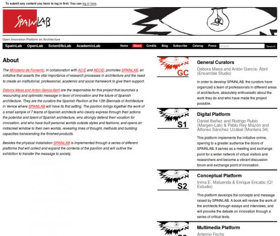 Página de la sección de 'About' de SpainLab.