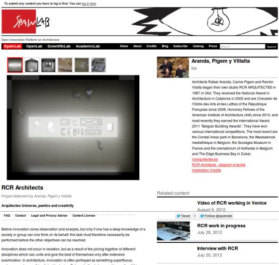 Página de los arquitectos RCR Architects en la sección SpainLab.