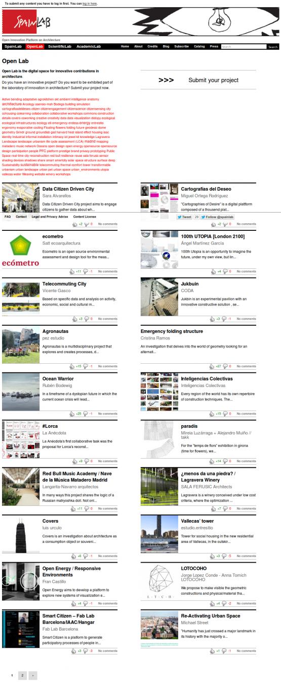 Página de la sección OpenLab de SpainLab.