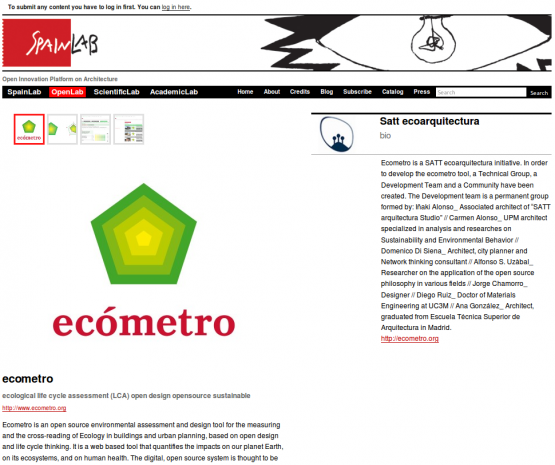Página del proyecto Ecómetro dentro de la sección de OpenLab de SpainLab.