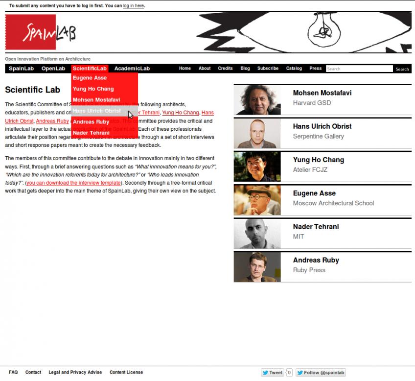 Page de la Section ScientificLab de SpainLab, où apparaissent 6 membres du comité scientifique.