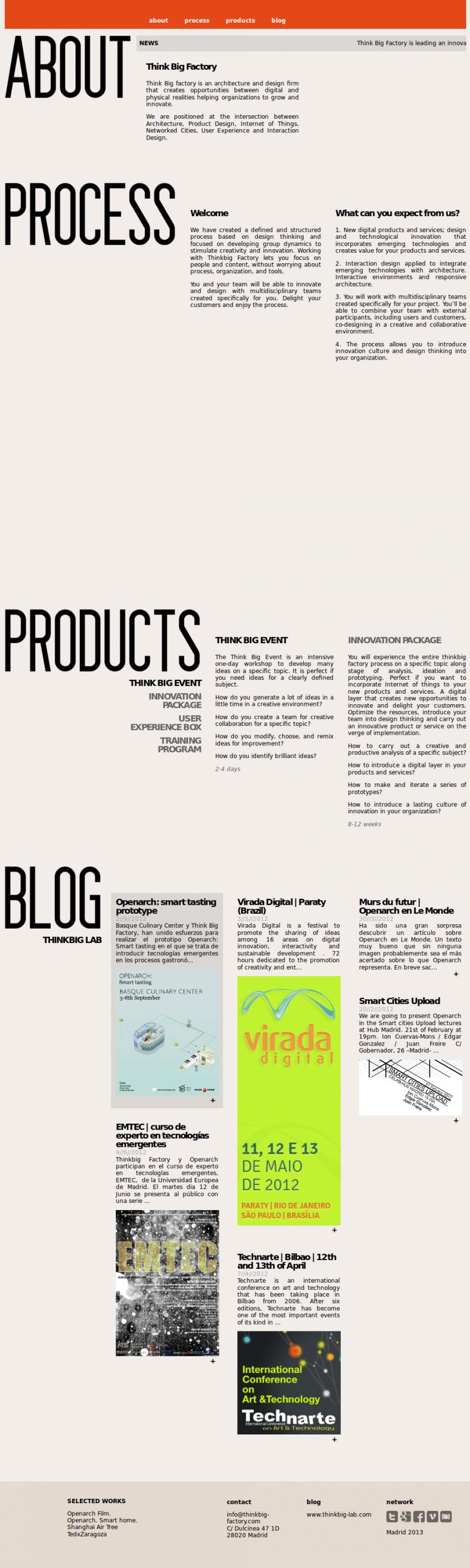 Página completa de Think Big Factory