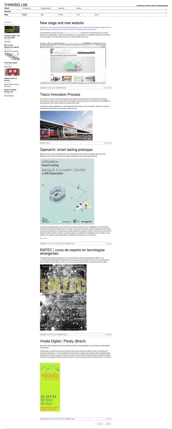Página de inicio de Think Big Lab  con Blog expandido