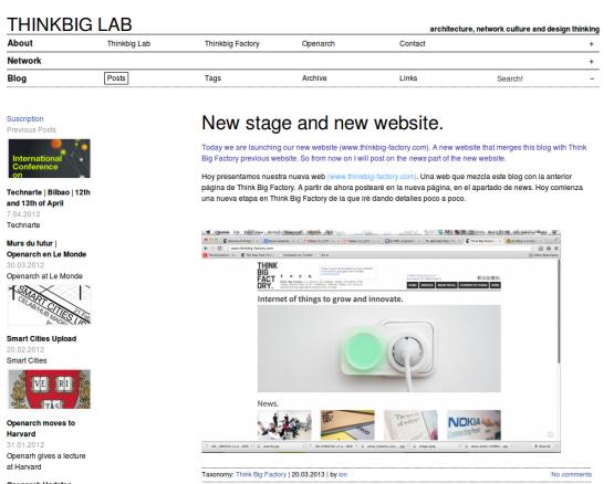 Página de inicio de Think Big Lab  con Blog extracto
