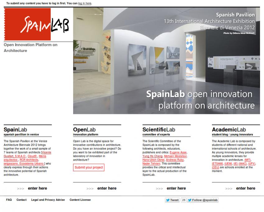 Page d'accueil du site internet de Spainlab.