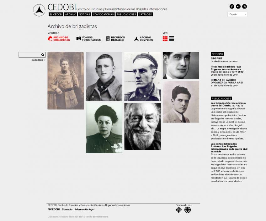 Archivo de brigadistas de la página del Centro de Estudios de las Brigadas Internacionales, vista mosaico