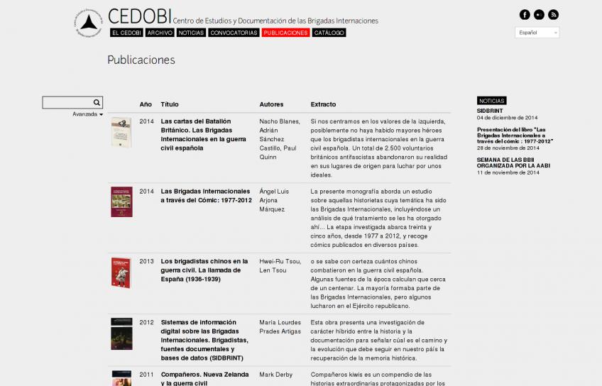 Publicaciones del CEDOBI, vista lista