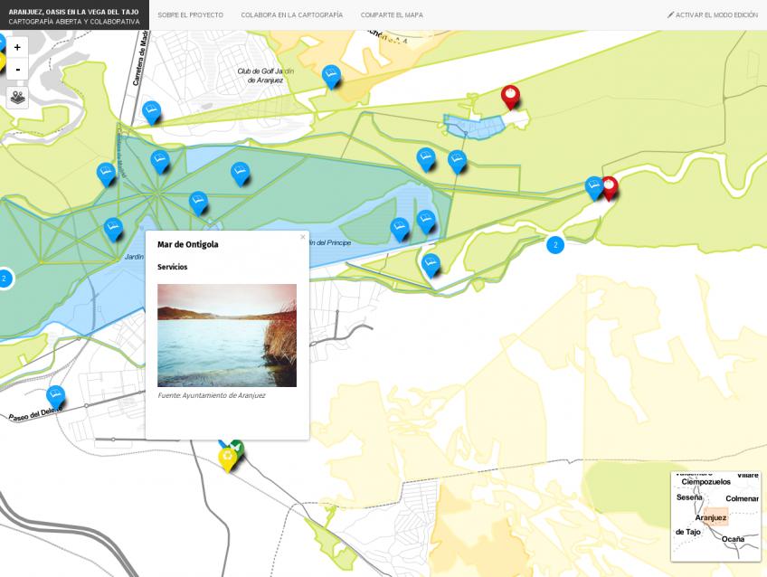 El mapa contiene áreas de cultivos, infraestructuras lineales y recursos puntuales.