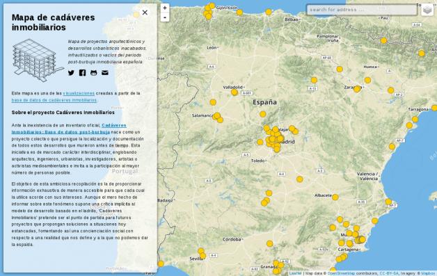 Mapa de la base de datos de Cadáveres Inmobiliarios