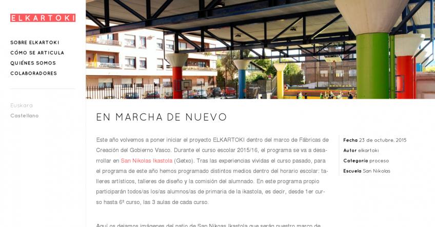Elkartoki: Página de un proyecto