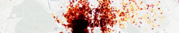 Mapa de alojamientos turísticos Airbnb en Madrid