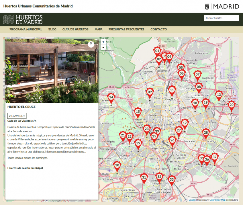 Sitio web red de huertos comunitarios de Madrid: mapa de huertos