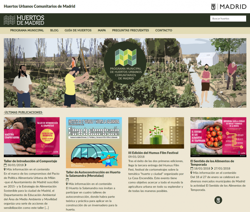Sitio web red de huertos comunitarios de Madrid: portada