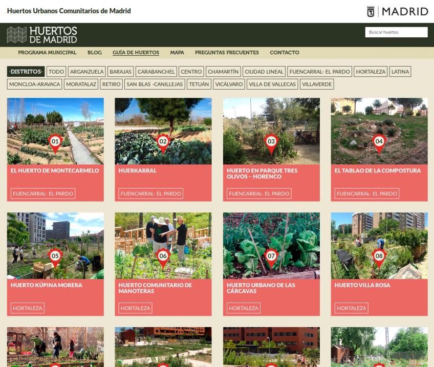 Sitio web huertos comunitarios Madrid: guía de huertos