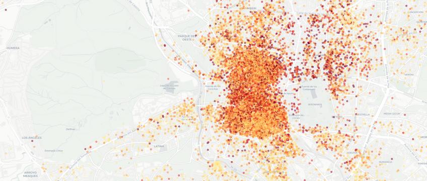 Mapa anuncios Airbnb en Madrid