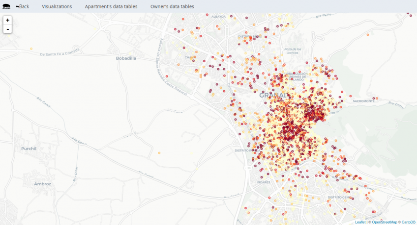 Captura de pantalla de DataHippo. Mapa