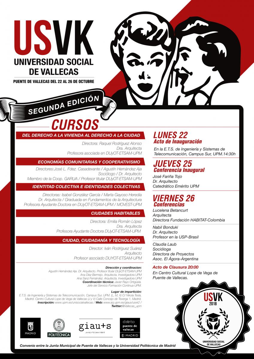Cartel de los cursos de la Universidad Social de Vallecas 2018