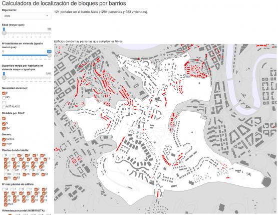 Calculadora de localización de bloques por barrio que necesitan ascensor